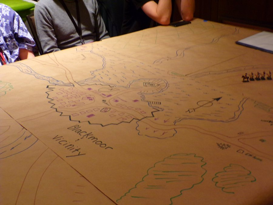 Hand drawn map of Blackmoor for Dave Megarry's talk on the original Blackmoor Campaign run by Dave Arneson.
