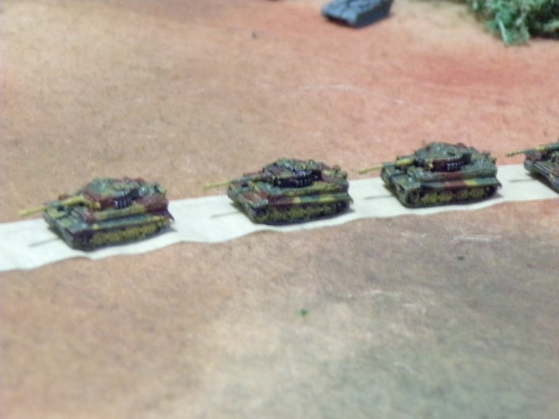 Tiger Tanks on patrol, 1/285th scale micro armor battles.