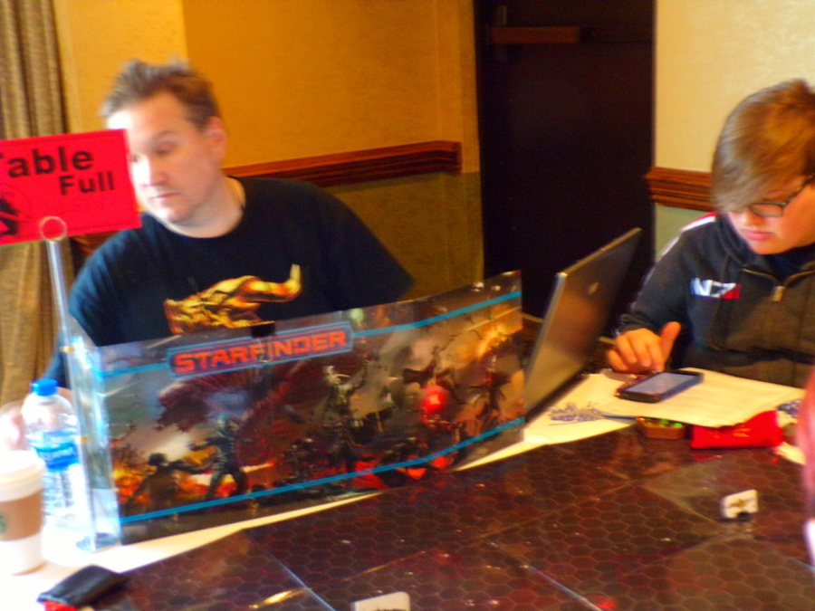Starfinder game in progress in the Paizo Games Room.