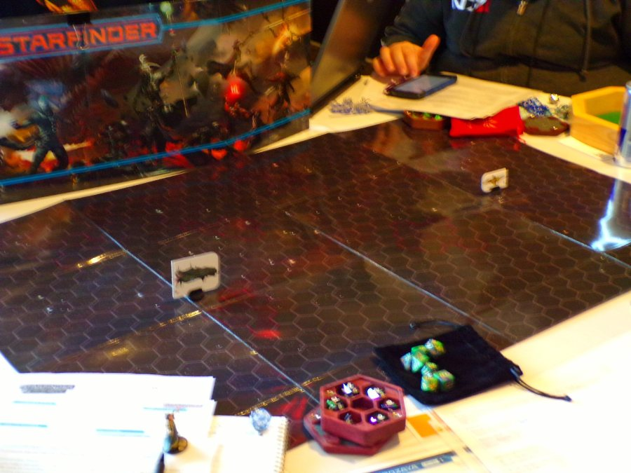 Starfinder RPG game in progress in the Paizo Games Room.