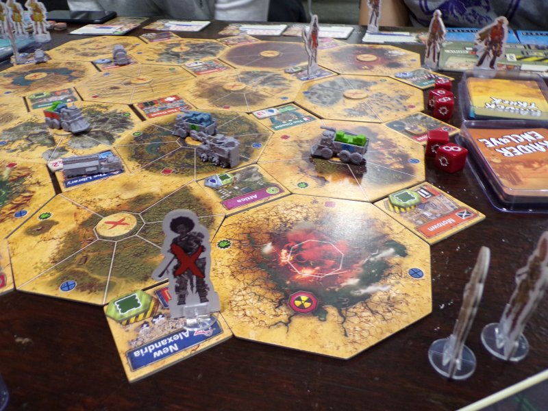 Wasteland Express Board game, a closeup view.