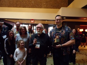 Larry Elmore receiving the E. Gary Gygax Lifetime Achievement award for his excellent Fantasy artwork for TSR and Dungeons & Dragons.