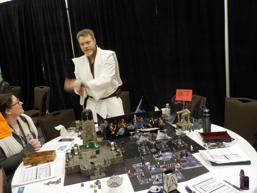 First Awesome game of the show spotted, ObiWan running a Star Wars RPG game of high adventure. The players loved this game and it was full of minis and details with an exciting and nail-biting storyline. Way to Go!