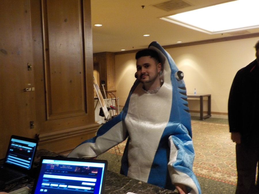How I knew I was at the right gaming convention, This LandShark showed up at event HQ... Knock knock....